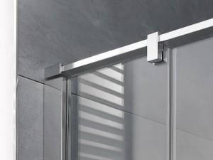 Der neuartige Stabilisationsbügel der Atelier Plan verleiht den Glaselementen sicheren Halt und ist optisch perfekt auf die zarte Linienführung abgestimmt. Bild: HSK Duschkabinenbau KG