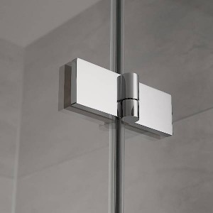 Das neue Atelier Plan-Scharnier besticht durch seine klare filigrane Linie und hochwertige Technik, gleichzeitig verleiht es den Türen eine fast schwerelose Optik. Bild: HSK Duschkabinenbau KG