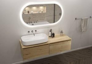 Beim Repabad Badspiegel Look 11 mit perfectLIGHT System lässt sich die Helligkeit sensorgesteuert berührungslos dimmen, sowie die Farbtemperatur individuell zwischen Warmweiß (3.000 K) und Kaltweiß (4.000 K) einstellen. Foto: Repabad