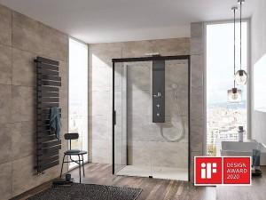 Mit dem iF DESIGN AWARD ausgezeichnet: Die neue Atelier Plan Schiebe-tür bietet frische Leichtigkeit für das Bad. Bildnachweis: HSK Duschkabinenbau KG